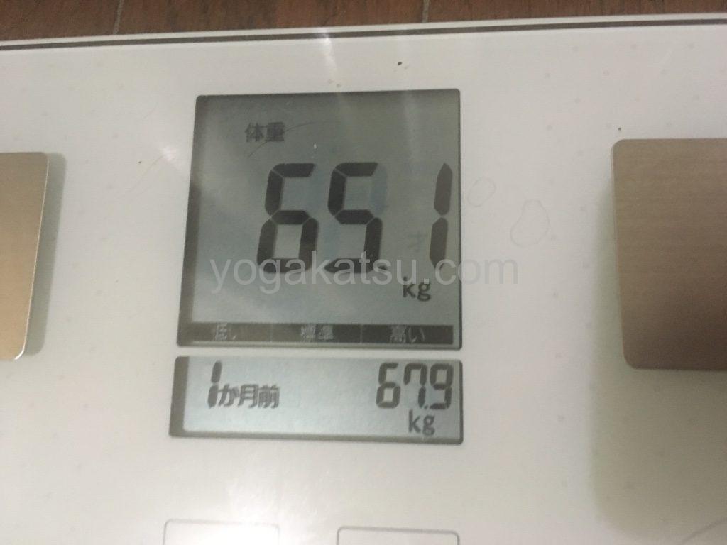 ホットヨガLAVAに通い始めて1ヶ月後のダイエット効果(体重)