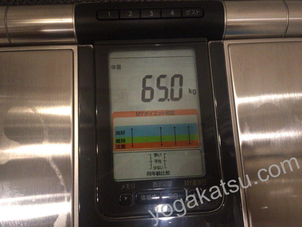 ホットヨガLAVA月島店でレッスンを受ける前の体重