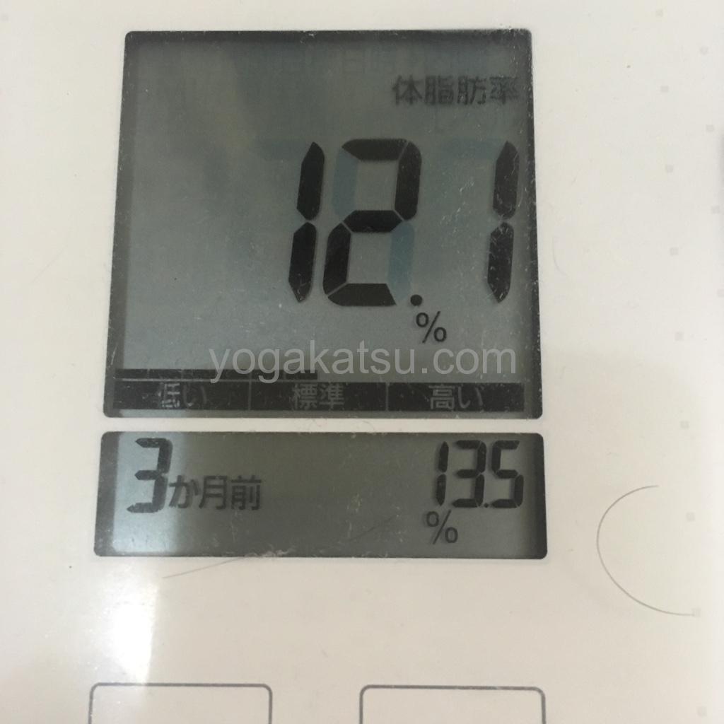 ホットヨガLAVA4ヶ月目のダイエット効果と成果(体脂肪)